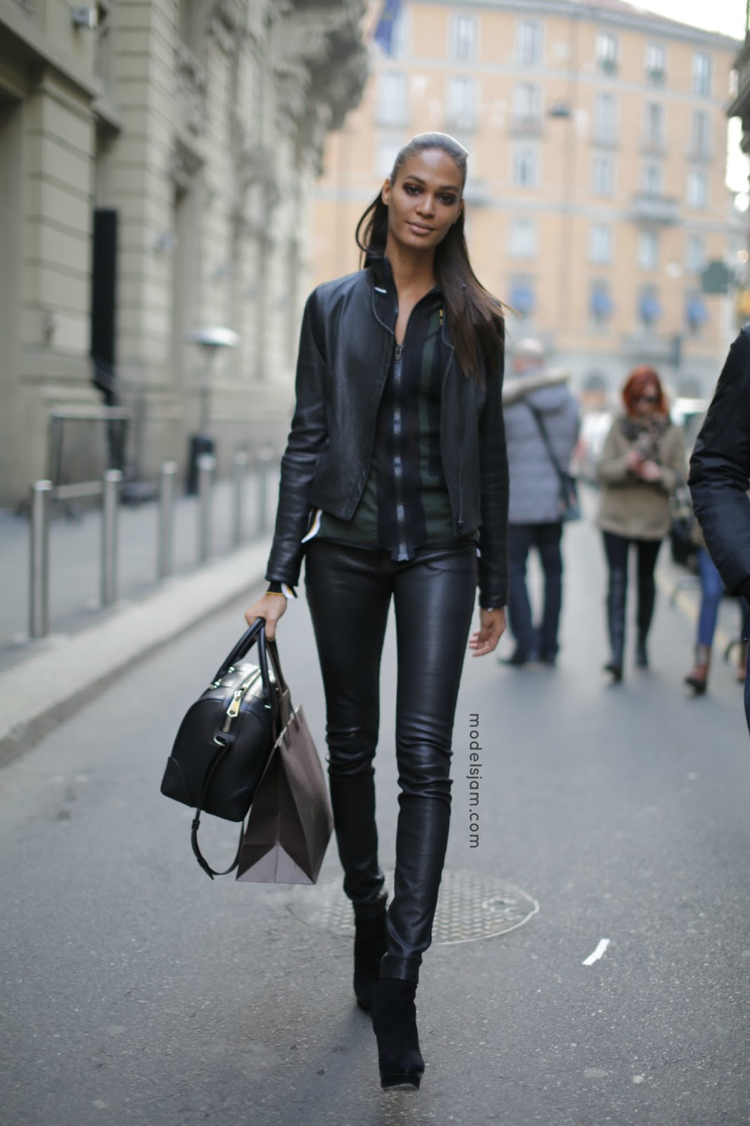 Joan Smalls At Fashion Week Milano Leather Trousers And Jacket
