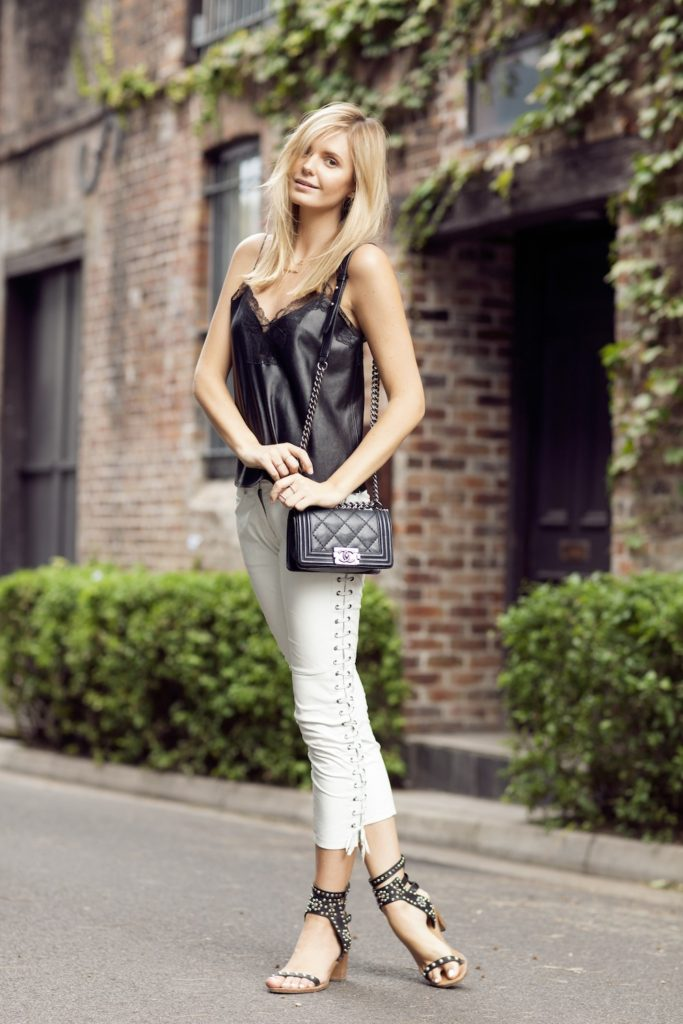 Tuula Vintage Wearing Cami Fom Zara, White Leather Pants From H&M x Isabel Marant , Sandals From Isabel Marant, Bag From Chanel