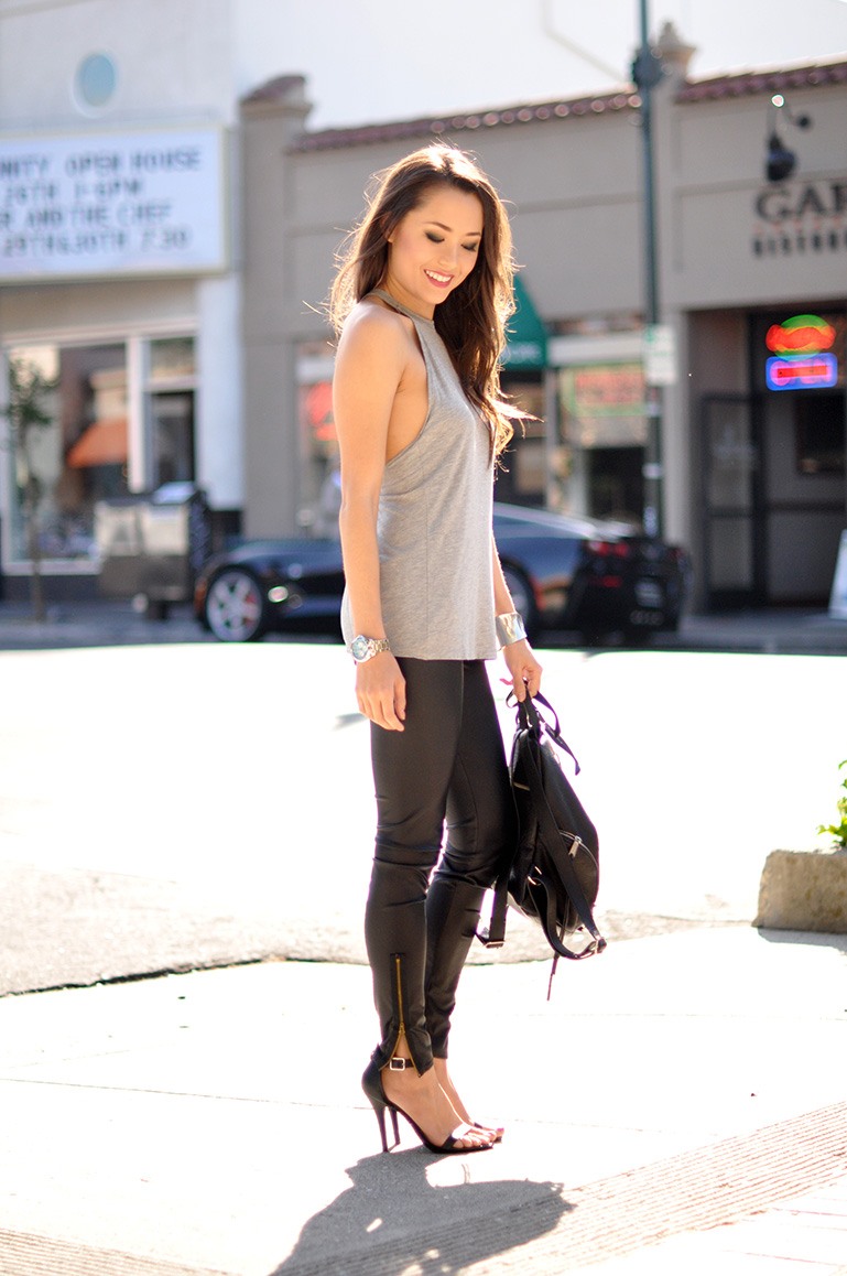 HapaTime Is Wearing Sunlight Tank From Lovers + Friends, Leather Leggings From Pacsun, Backpack from Rebecca Minkoff And Shoes From DailyLook