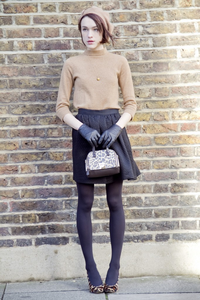 La Petite Anglaise Is Wearing Leopard Print Divine Tote Bag From Furla, Camel Top And Gloves From Club Monaco, Black Skirt From Whistles, And Shoes From Hobbs