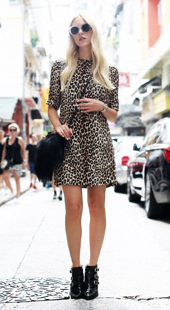 Shea Marie is wearing a leopard print dress from Equipment, shoes from Jimmy Choo, bag from Philip Lim and the sunglasses are from Celine