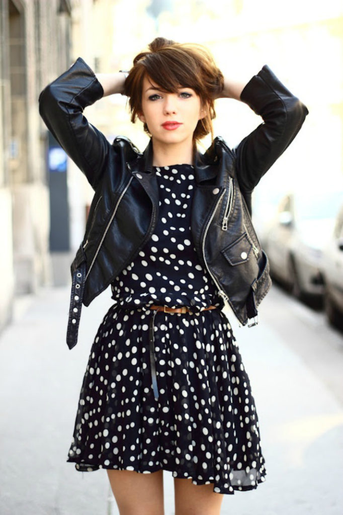 Polka Dot Dress And Leather Jacket Via Scent Of Obsession