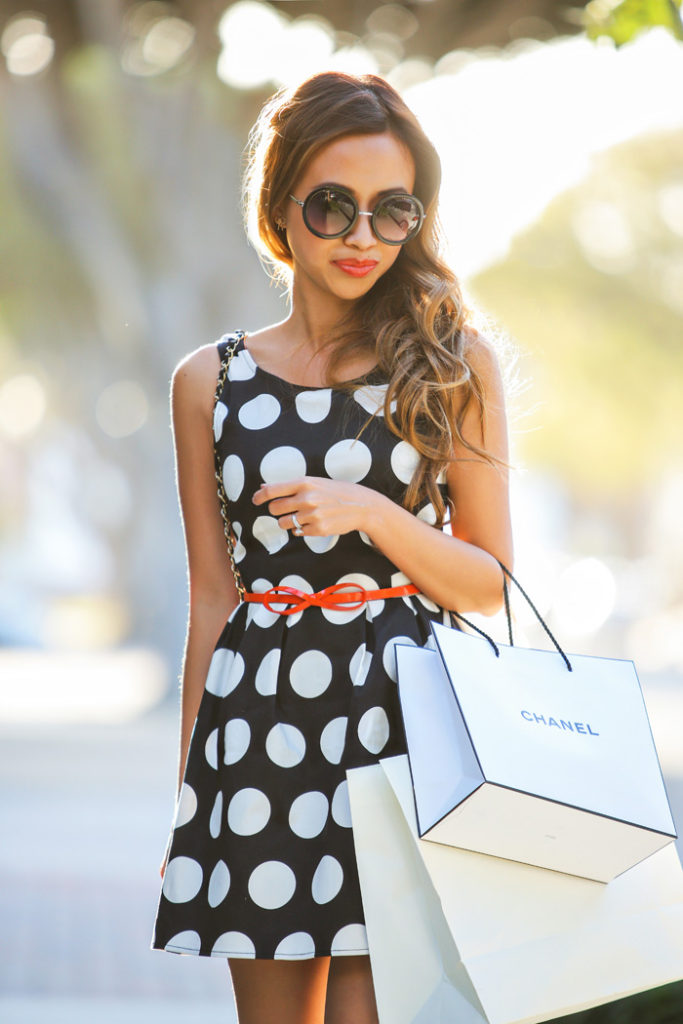 Lace And Locks Wearing Polka Dot Dress From H&M, Belt From Old Club Monaco, And Chanel Sunglasses