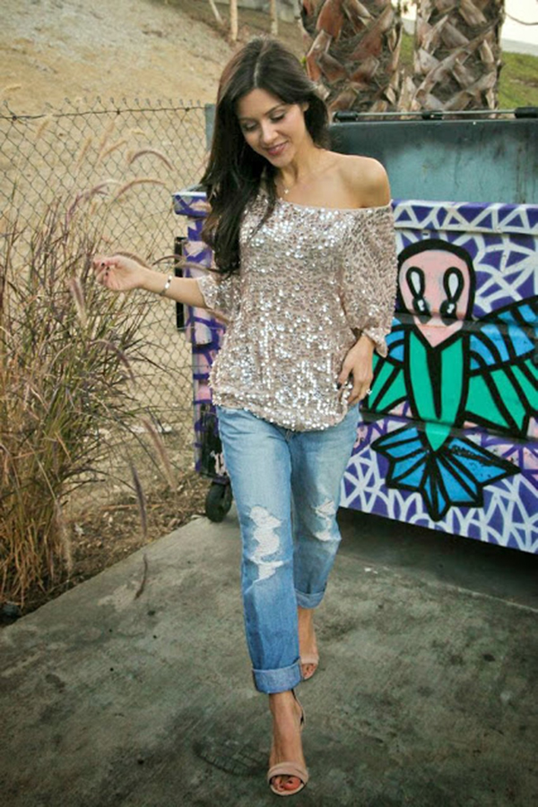 Andee Layne Is Wearing Sequin Top From Zara, Jeans From Joe Joeans And Sandals From Nicholas Joclyn