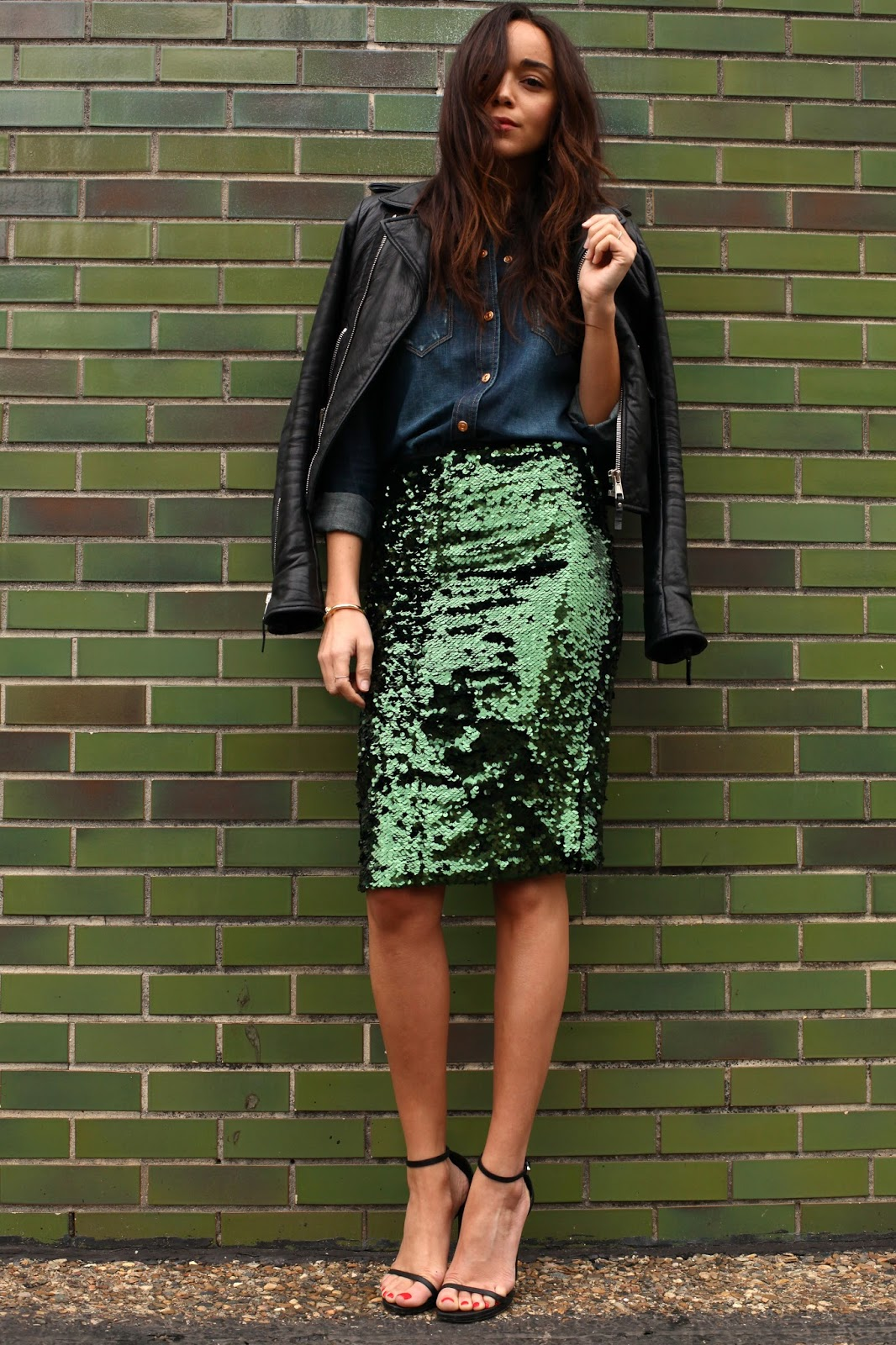 Ashley Is Wearing Green Sequin Skirt From Topshop, Blue Denim Shirt From 7 For All Mankind, Shoes From Saint Laurent And Leather Jacket Balenciaga