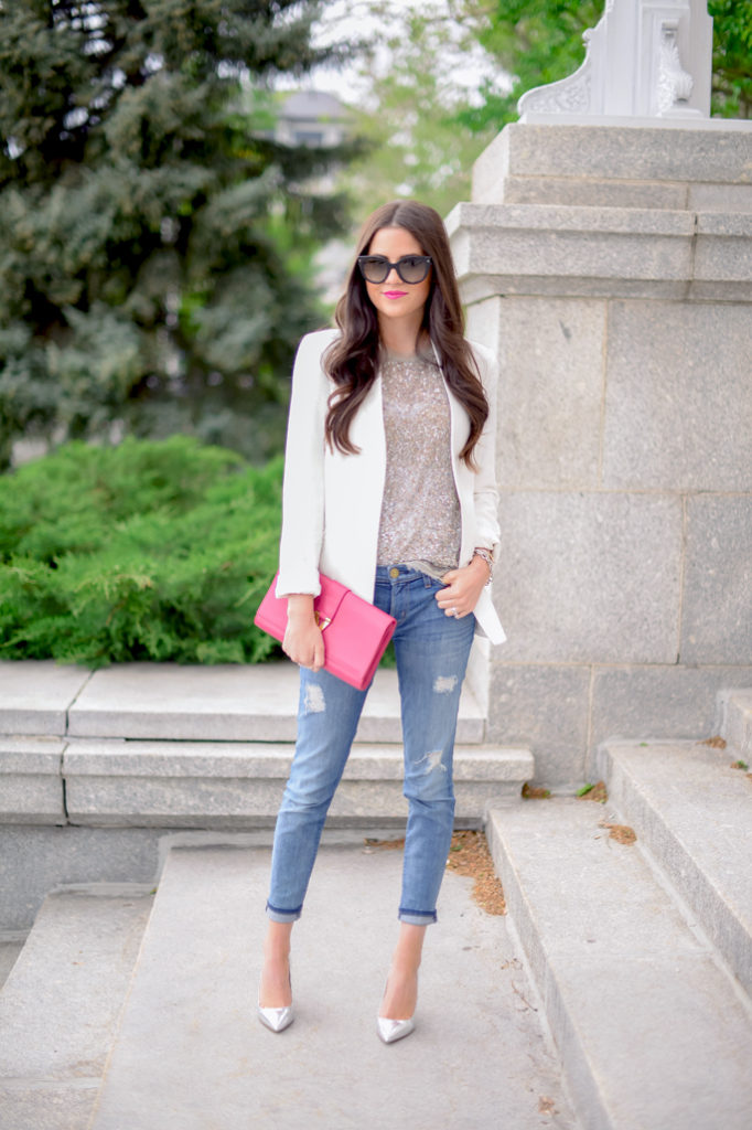 Fashion Blogger Rachel Is Wearing White Blazer From Theory, Sequin Top From All Saints, Distressed Jeans From Current/Elliott Shoes From J. Crew And Clutch From Saint Laurent