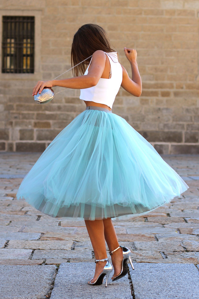 Trendy Taste In Turquoise Tulle Skirt From Coosy, Top From Zara, Shoes From Más34 And Purse From Adamarina