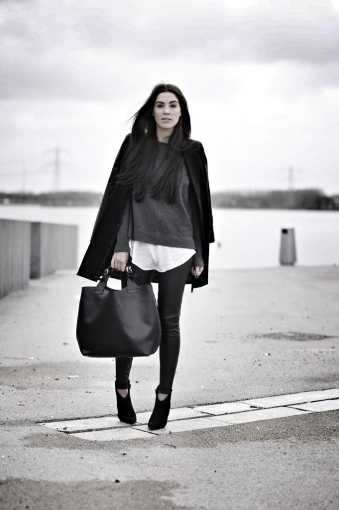 Cindy Van Der Heyden Is Wearing Leather Sleeves Blazer From Romwe, Faux Leather Trousers, Top, T-Shirt And Bag From Zara And Boots From River Island