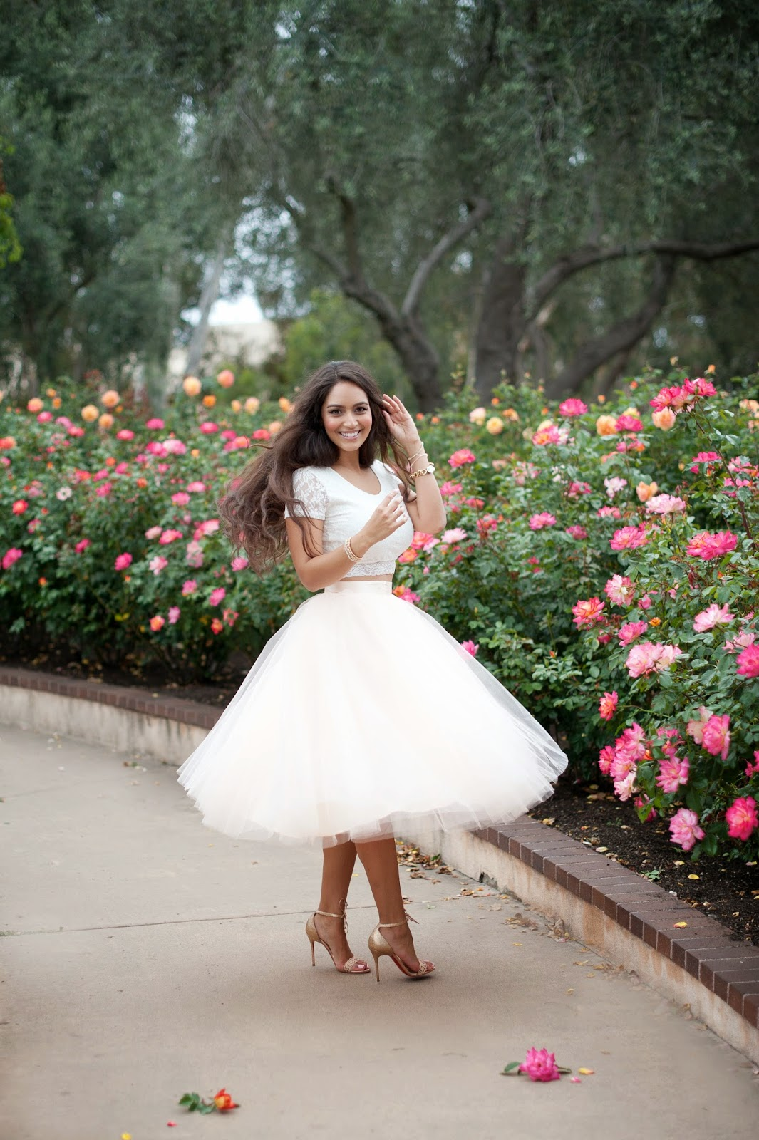 Vanessa Balli is wearing a tulle skirt from Space 46, shoes from Christian Loboutin and a lace crop top from Nordstroem