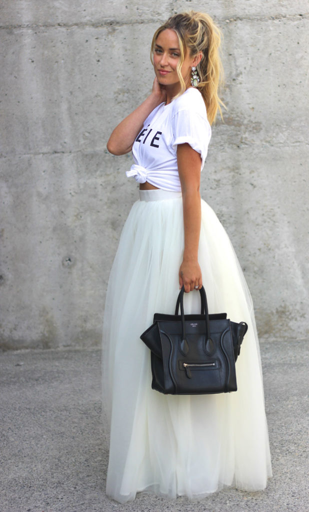 Cara McLeay is wearing Celfie T-shirt from Sincerely Jules, white tulle skirt from Beautulleful and a Celine bag