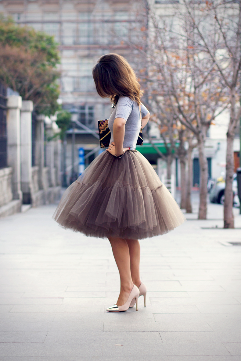 Collage Vintage Is Wearing A Tulle Skirt From ASOS, Top From TopShop, And Shoes From Zara