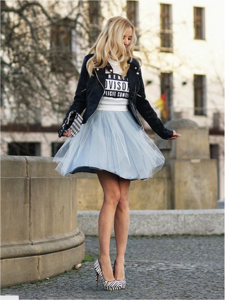 MeriWild Is Wearing Jacket From New Look, Tulle Skirt From Sukienkowo, Top From Sheinside And Handbag From Mohito