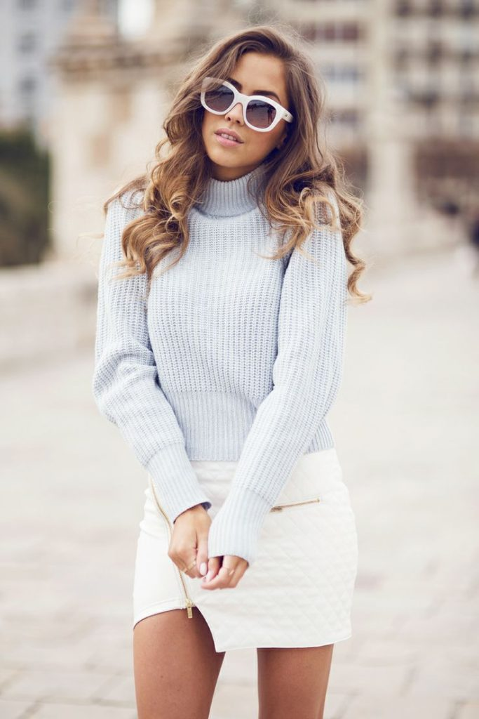 Kenza Wearing A White Skirt From Ivy Revel, Top From Acne  And Sunglasses From Le Specs