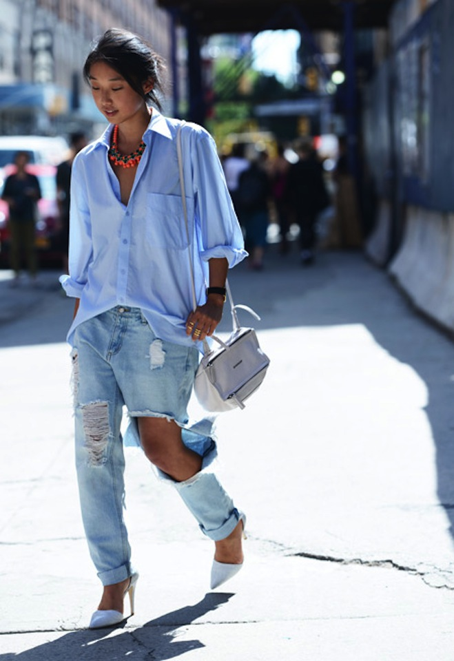 Boyfriend Shirt And Ripped Jeans. Photography By Tommy Ton