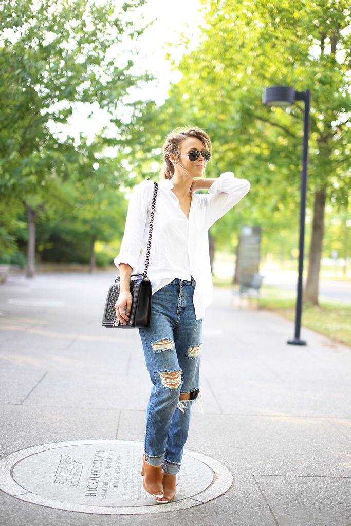 Mary Seng Is Wearing A Boyfriend Shirt From Current/Elliott, Jeans From Zara, Shoes From French Connection, Bag From Chanel And The Sunglasses Are From Rayban