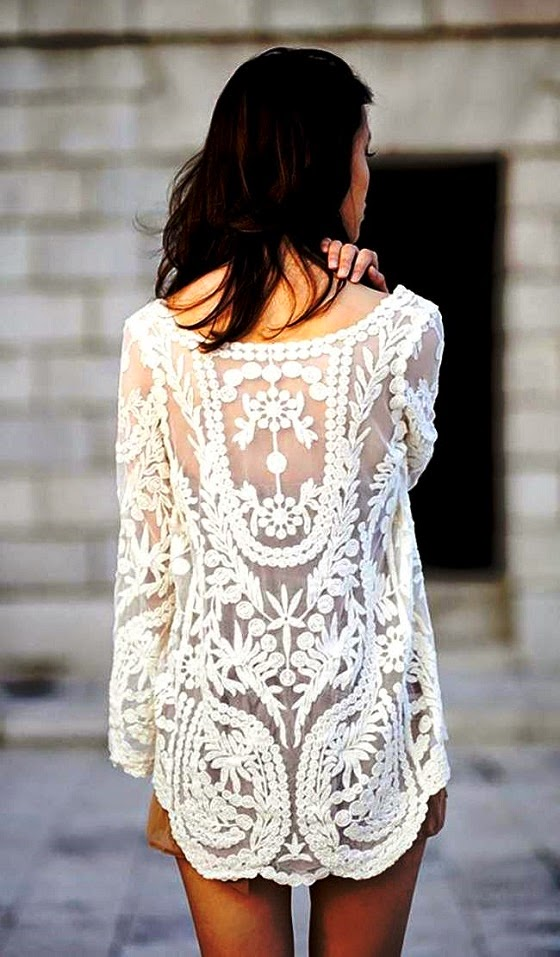 Cream White Floral Crochet Tunic Unknown Model/Photographer