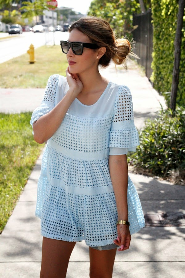 Nicholl Vincent Is Wearing A Pale Blue Eyelet Top From Oasap, Denim Shorts From J. Crew And Sunglasses From Celine