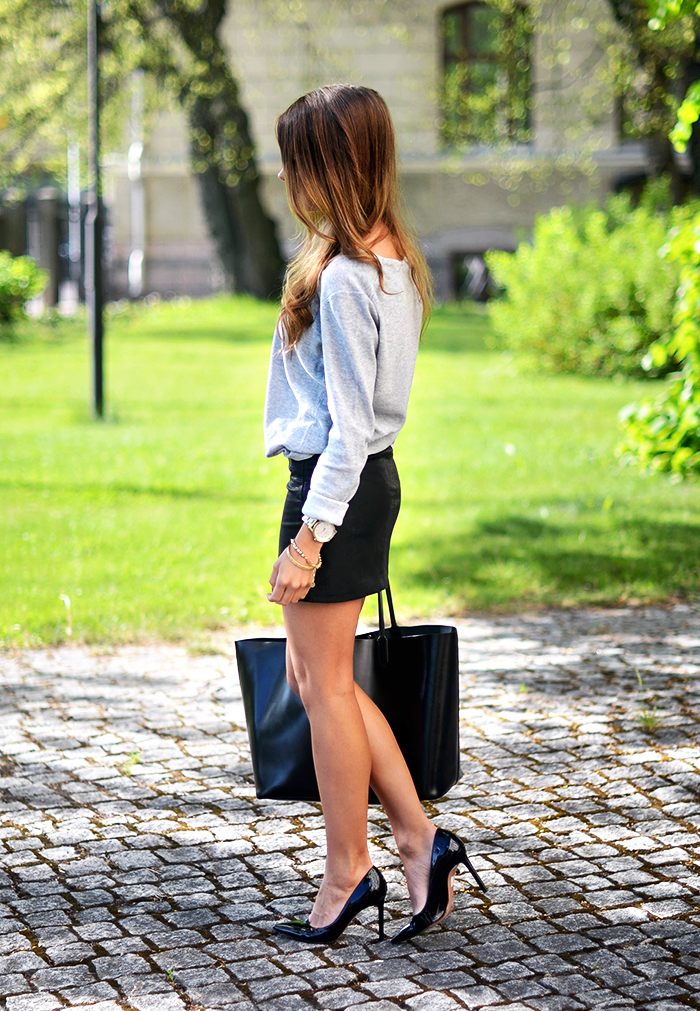 Marianna N Is Wearing A Grey Top From Esprit, Leather Miniskirt From Zara, Shoes From Roberto Festa And A Bag From Givenchy