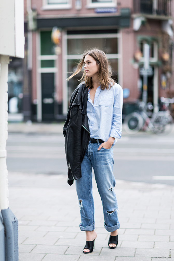 Sabrina Meijer Is Wearing Mules From Zara, Shirt From Rika, Leather Jacket From Acne Studios And Jeans From Goldsign