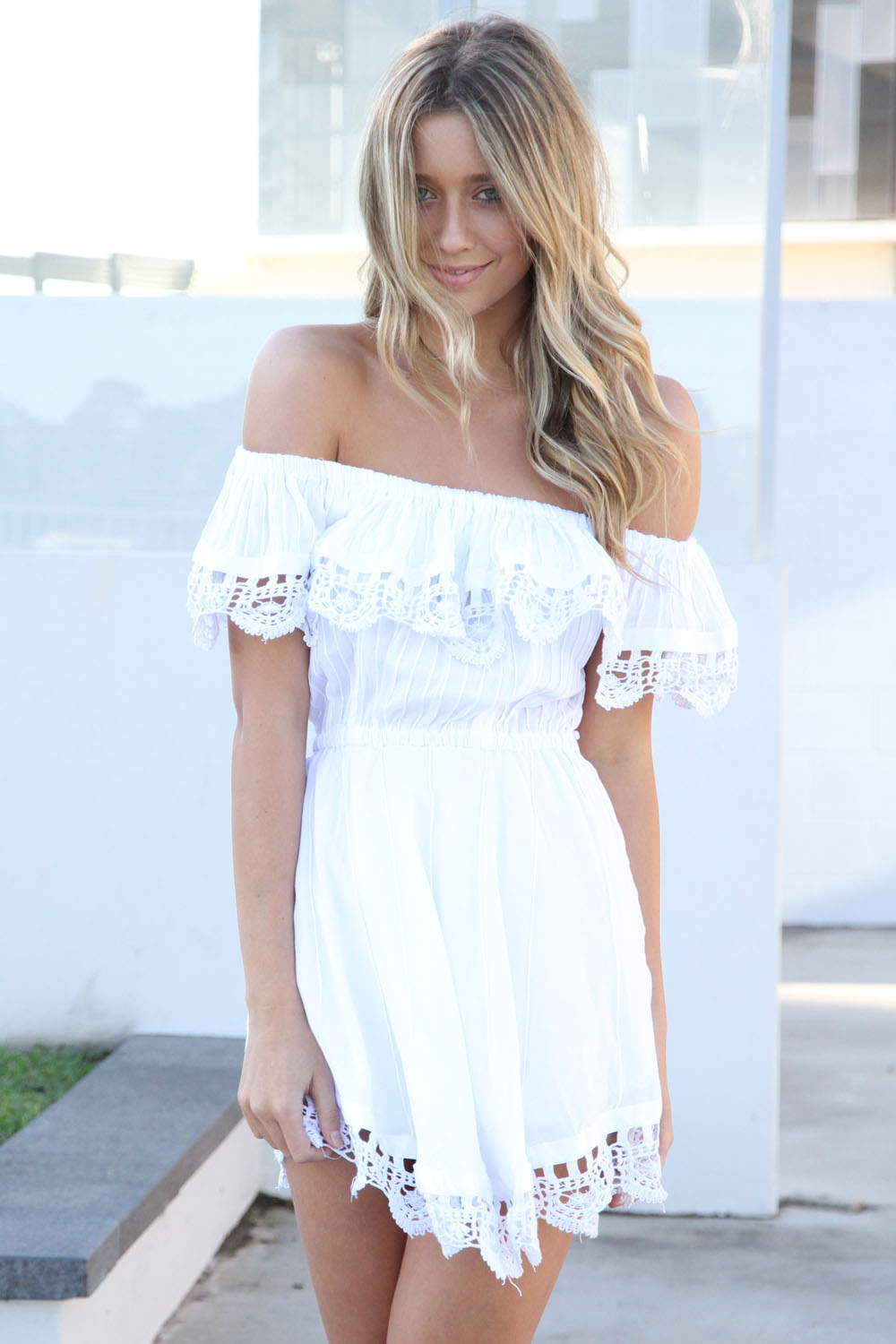 White Off The Shoulder Dress from Sabo