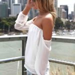 White Off-The-Shoulder Top With Chiffon Sleeves, From US Trendy