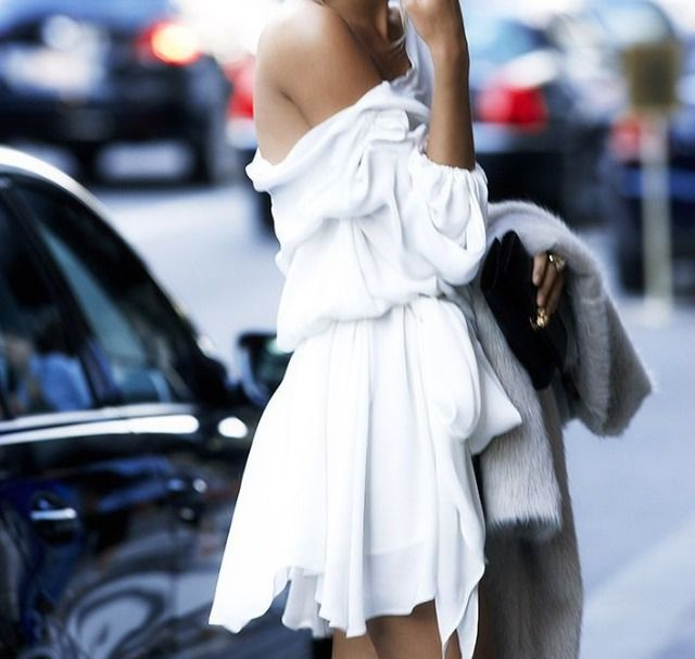 Zuzanna Krzatala Is Wearing Off The Shoulder Dress By Halston Heritage Via Cosmopolitan US, January 2014