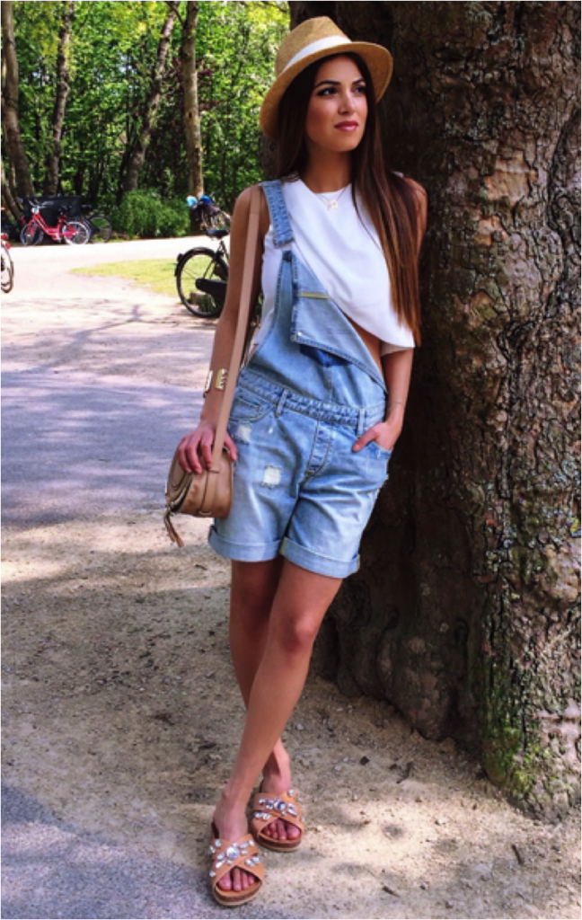 Negin Mirsalehi Is Wearing White Crop Top, Distressed Denim Overalls And Nude Sandals