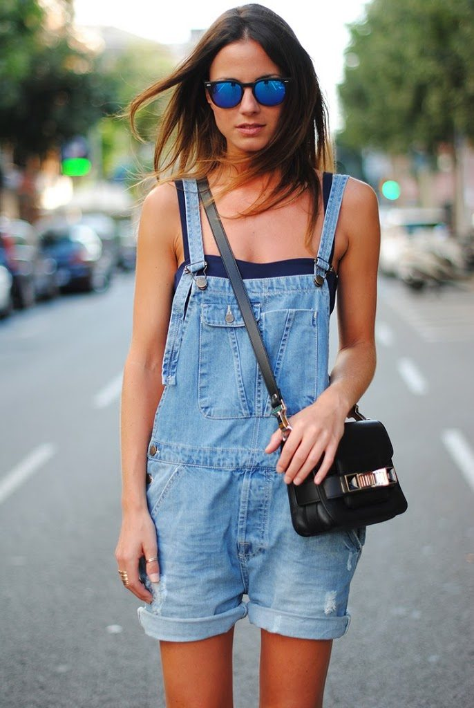 Fashionvibe Is Wearing Denim Overalls From Zara, Crop Top And Bag From Proenza Schouler