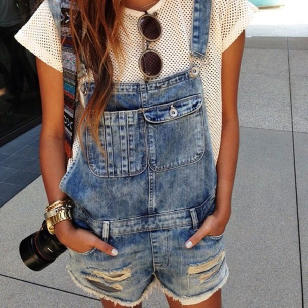 Eyelet T-Shirt And Denim Overalls Unknown Model/Photographer