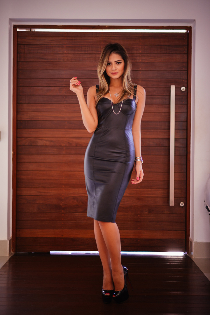 Thássia Naves is wearing a leather dress from Talie NK