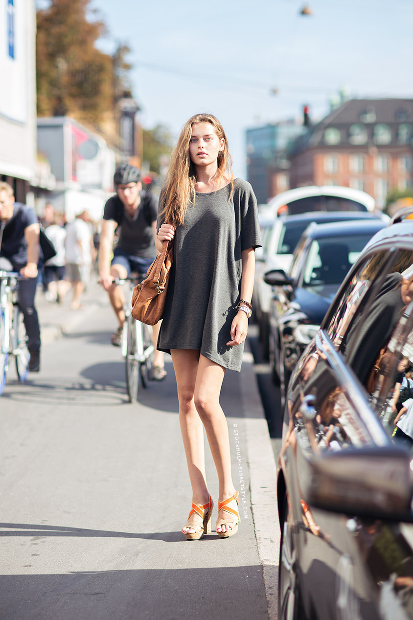 Grey T-Shirt Dress And Orange Wedges Via Stockholm Streetstyle
