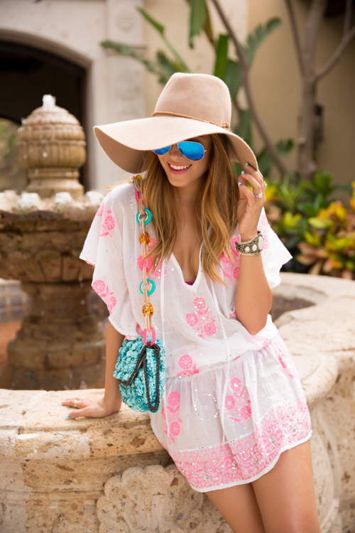 Gal Meets Glam Wearing Coverup By Juliet Dunn, Bag By M Missoni, Sunglasses From Ray BanAnd Hat From Preston & Olivia