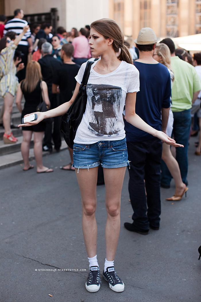 Graphic T-Shirt, Denim Shorts And Varvatos Via Stockholm Street Style May 2014