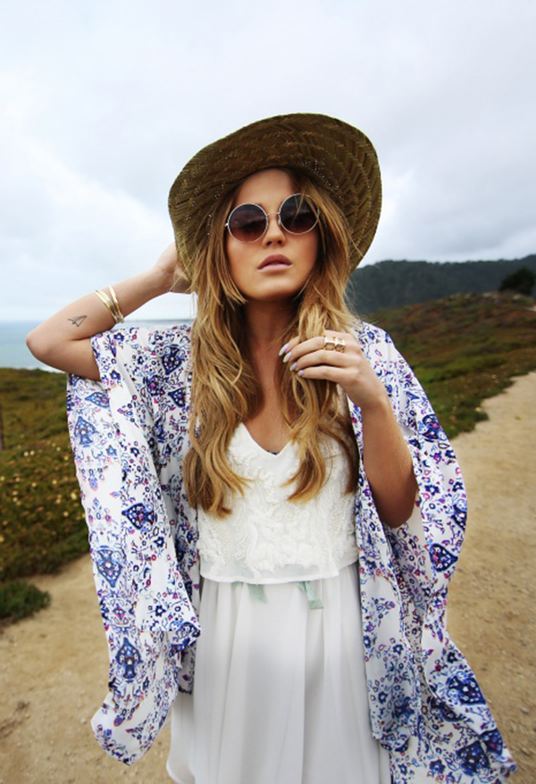 Angela Blick Is Wearing A Kimono And Hat From Lindex, Dress From Zara And Sunglasses From Gina Tricot
