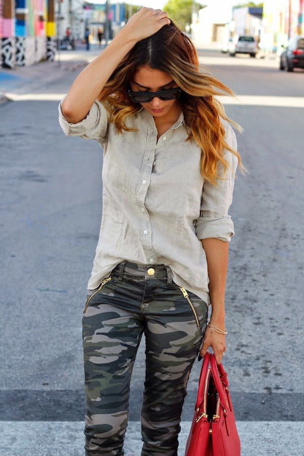 Nicholl Vincent Is Wearing Sunglasses From Celine, Bag From Prada, Camo Pants From Express And linen Shirt From J.Crew