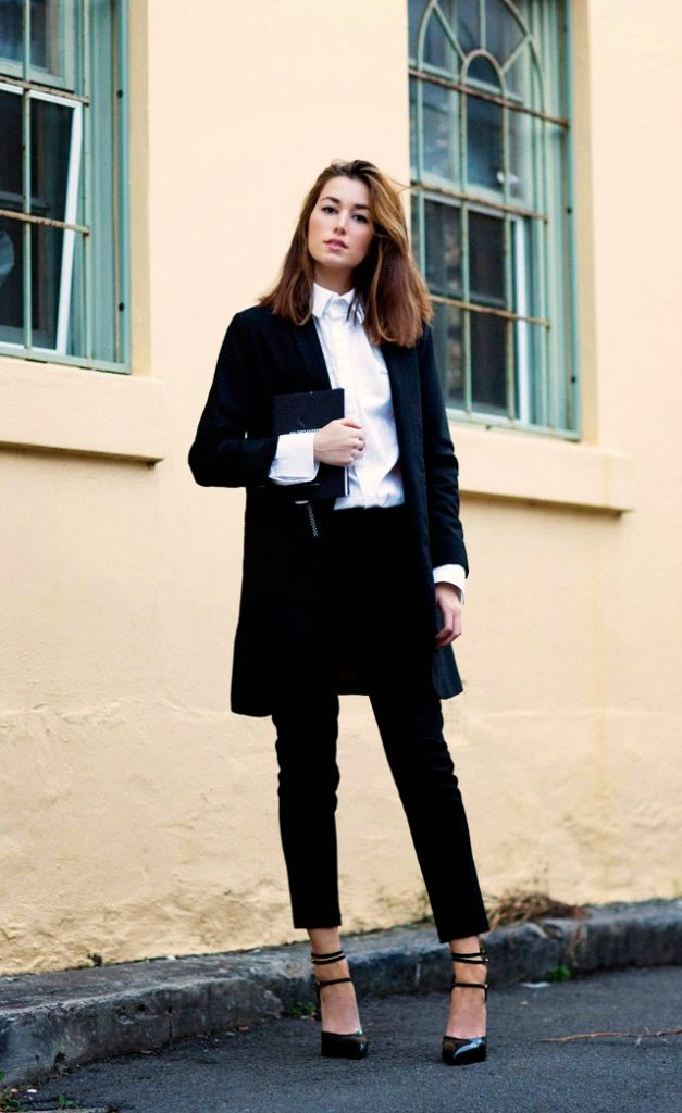The Chronicles Of Her Is Wearing Black Trousers From ASOS, Black Jacket From Hanzel & Gretel, White Shirt From Josh Goot And Shoes From Saint Laurent
