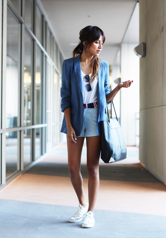 Sincerely Jules Wearing Blue Blazer From MiH Jeans, Matching Shorts From Rory Beca, T-Shirt From Gap And Simply Converse