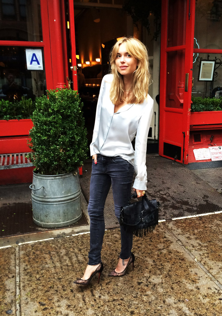 Pernille Teisbaek Is Wearing A Silk Shirt From Acne, Jeans From Closed, Shoes From Christian Louboutin And Bag From Proenza Schouler