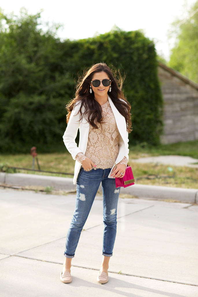 Rachel Parcell is wearing a white blazer from Theory, tan lace top from Milly and sunglasses from Karen Walker