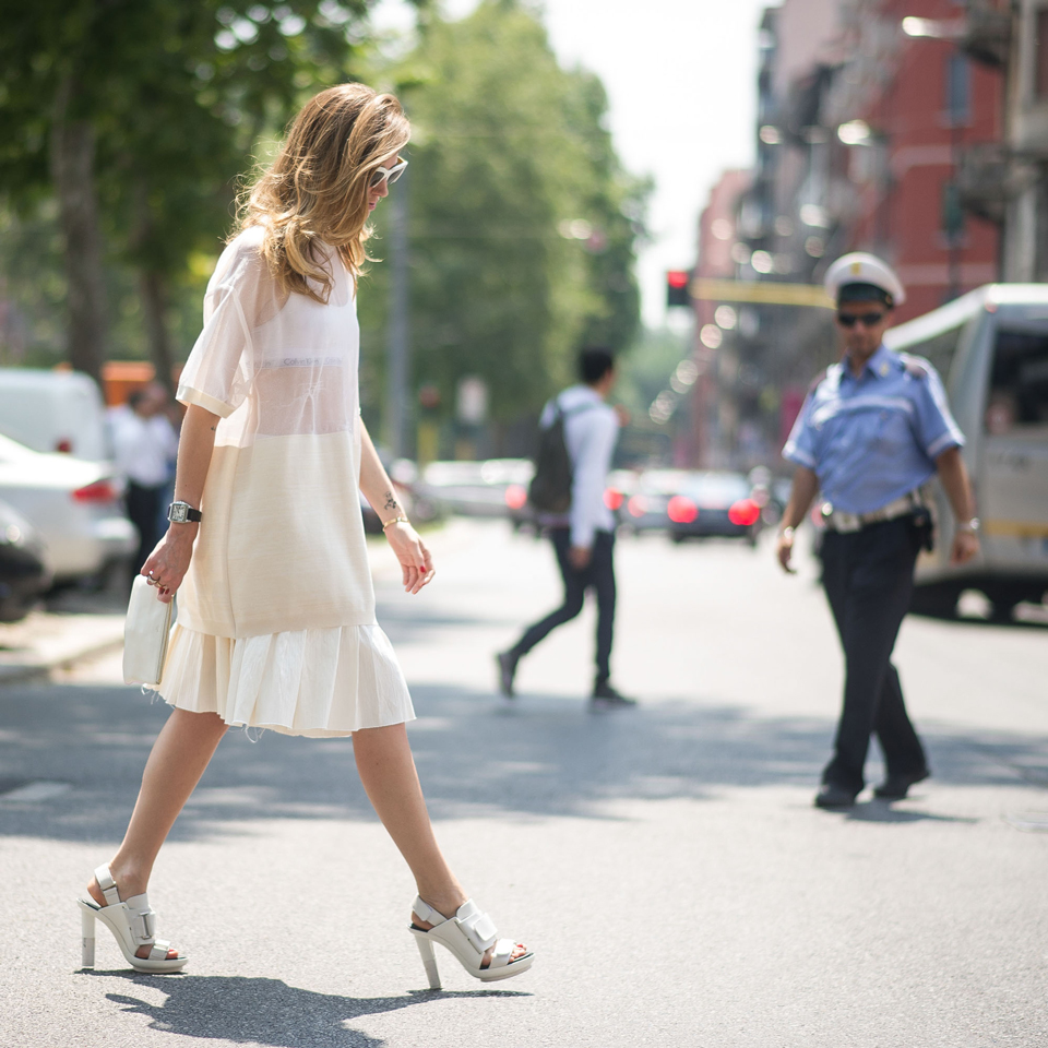 Chiara Ferragni is wearing all white on white Calvin Klein