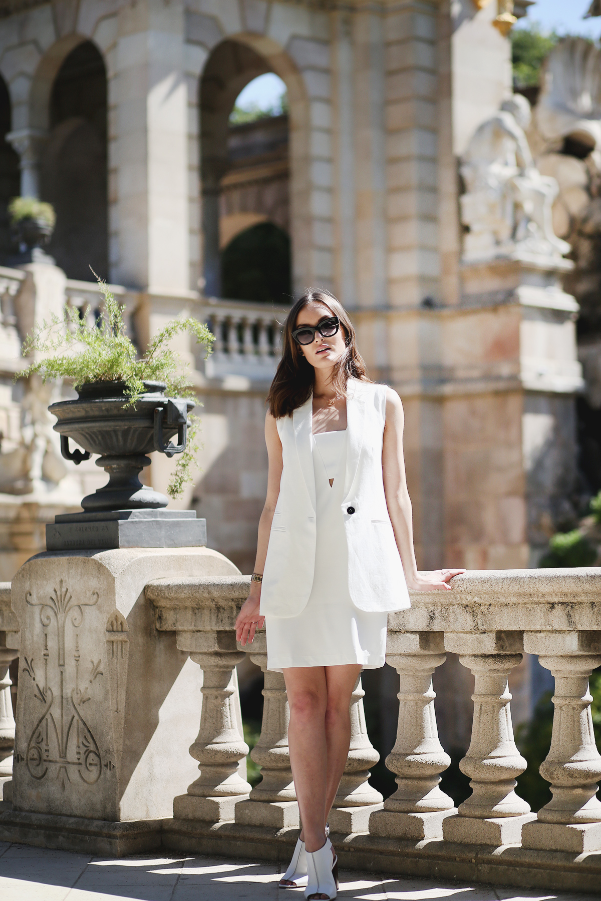Anoushka Is Wearing White On White, Dress And Vest From Mango, Mules From Office And Sunglasses From ASOS