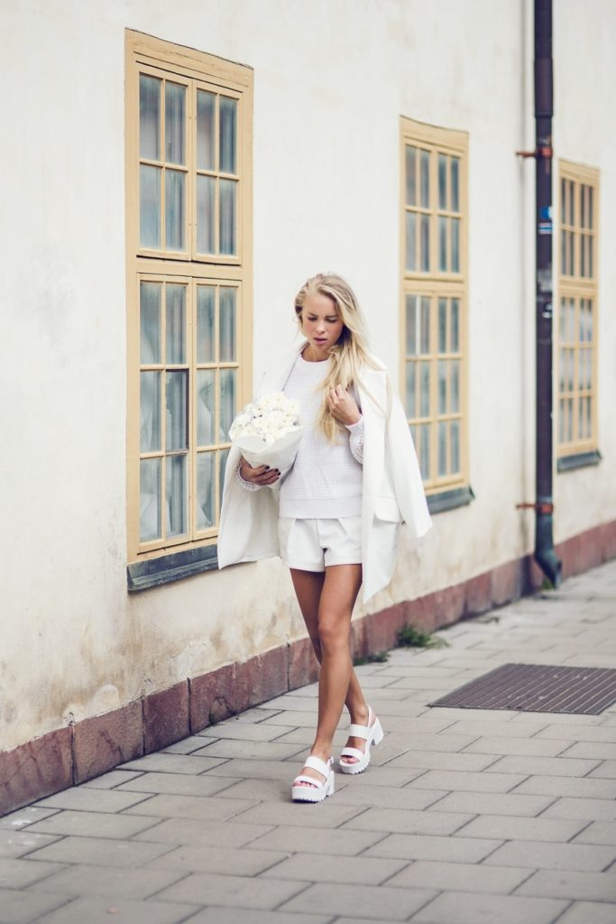 Victoria Tornegren Is Wearing White On White Shoes From River Island, Blazer From Chicy, Top From Ivy Revel And Shorts