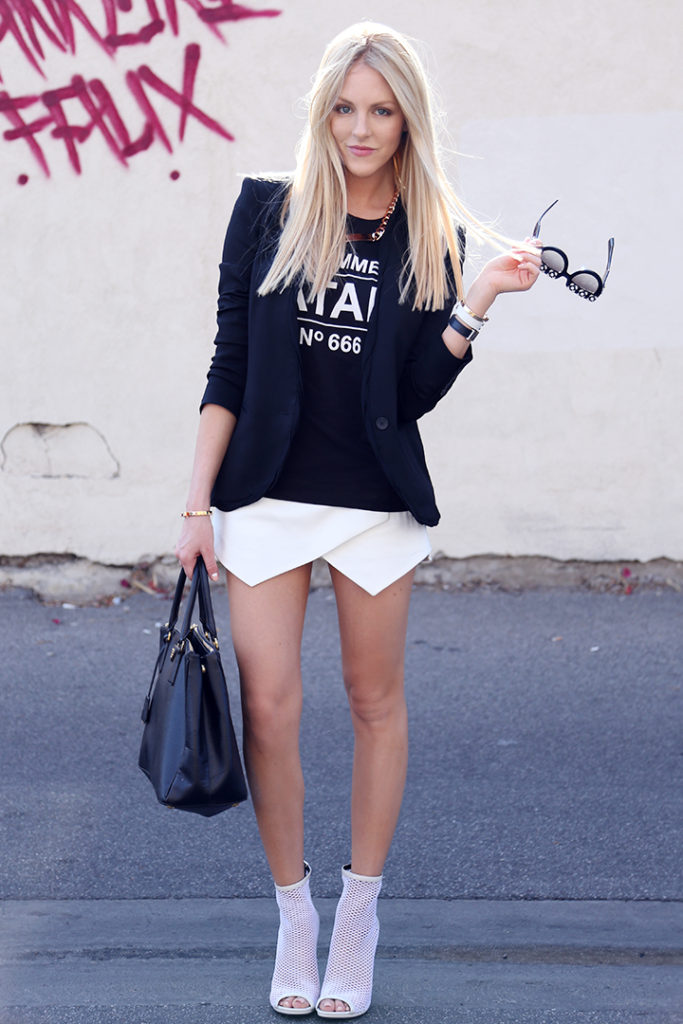 Shea Marie is wearing a white assymmetrical skirt from Zara, Blazer from Helmut Lang, shirt from Urban Outfitters, bag from Prada and shoes from Brian Atwood