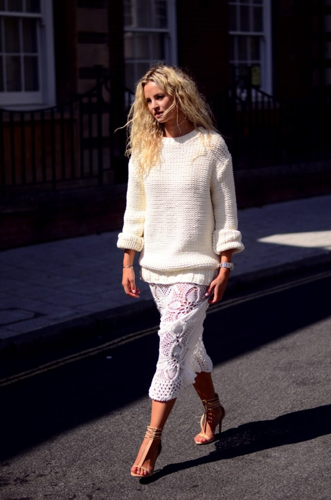 Anouk Yve is wearing a a crochet dress and top from Emma Clothing and & Other stories, shoes from Zara