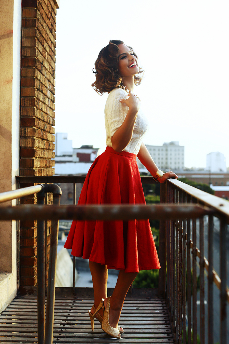 Pia Toscano in red full skirt and white top Photography By Solmaz Saberi