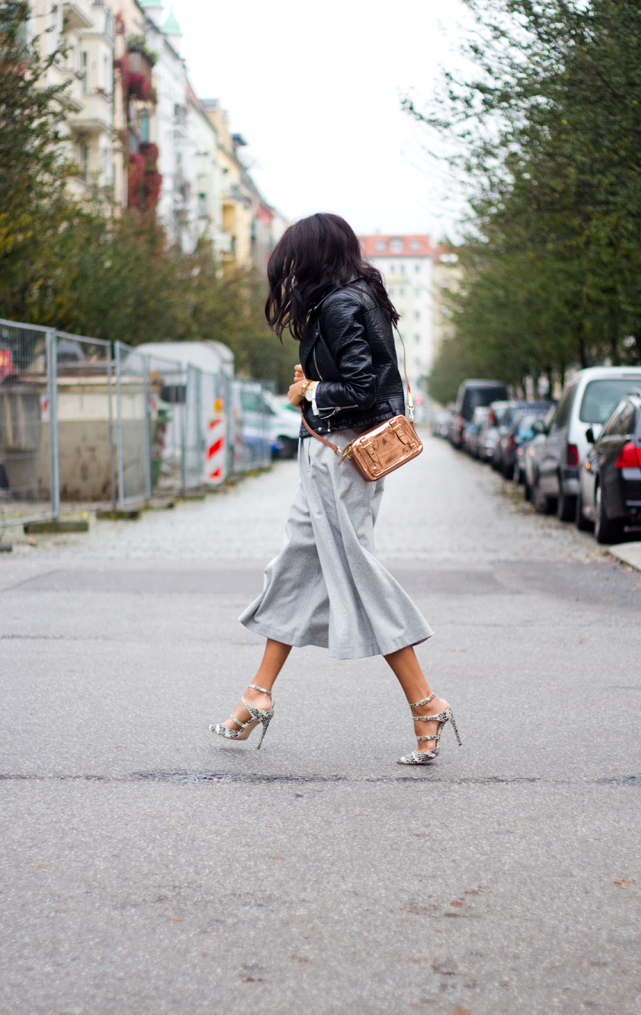 Kayla Seah in her pale grey culottes from Carin Wester