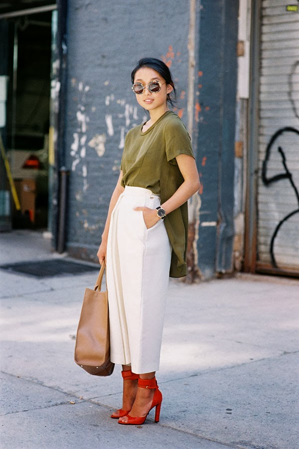 Margaret Zhang is wearing white culotte shorts. Photography by Vanessa Jackman