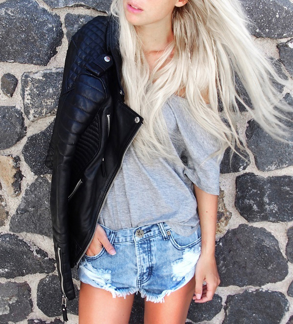 Victoria Tornegren is wearing a leather jacket from Bodaskins, T-shirt from Zara and Shorts from One Teaspoon