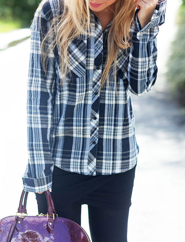 Cathrine Heienberg is wearing a plaid shirt from Sally & Circle