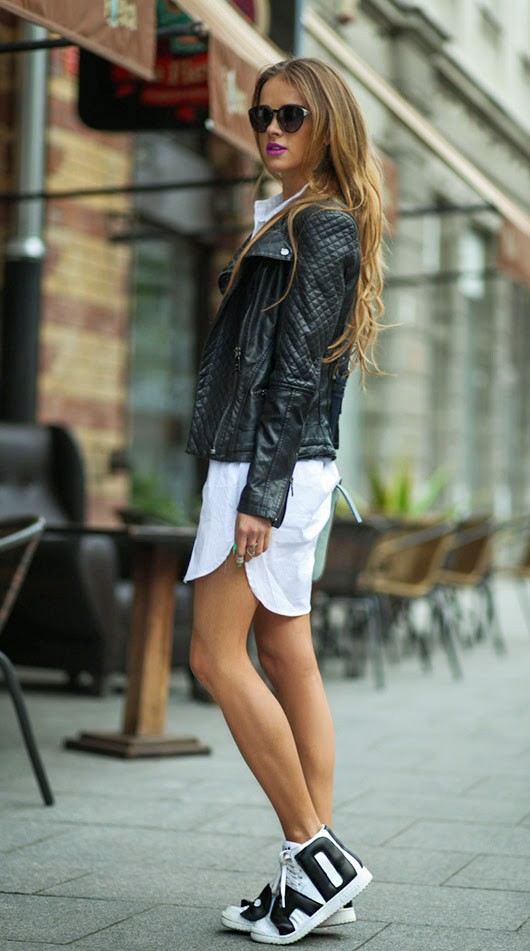 Julietta Kuczyńska is wearing shirt and shorts from Bershka, shoes from Adidas, (Jeremy Scott), leather jacket from Denimbox and sunglasses from TopShop